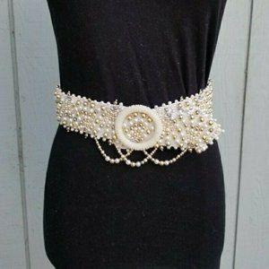 Vintage Art Deco Elegant Drape Pearl White Belt